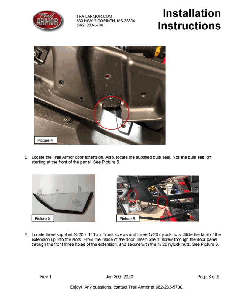 Honda Talon Lower Door Insert Kit
