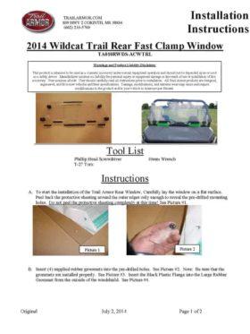 Artic Cat Wildcat Rear Window Dust Seal