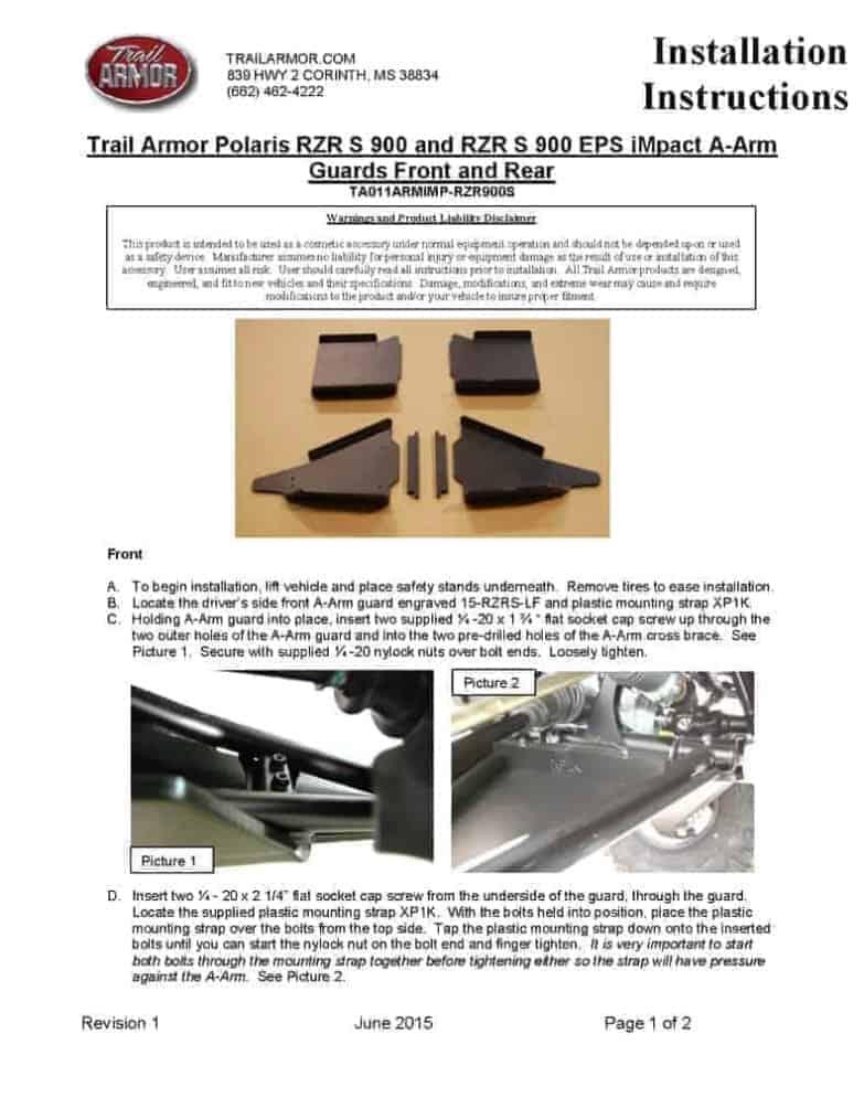 Polaris Rzr Xp Turbo S Impact Trailing Arm Guards