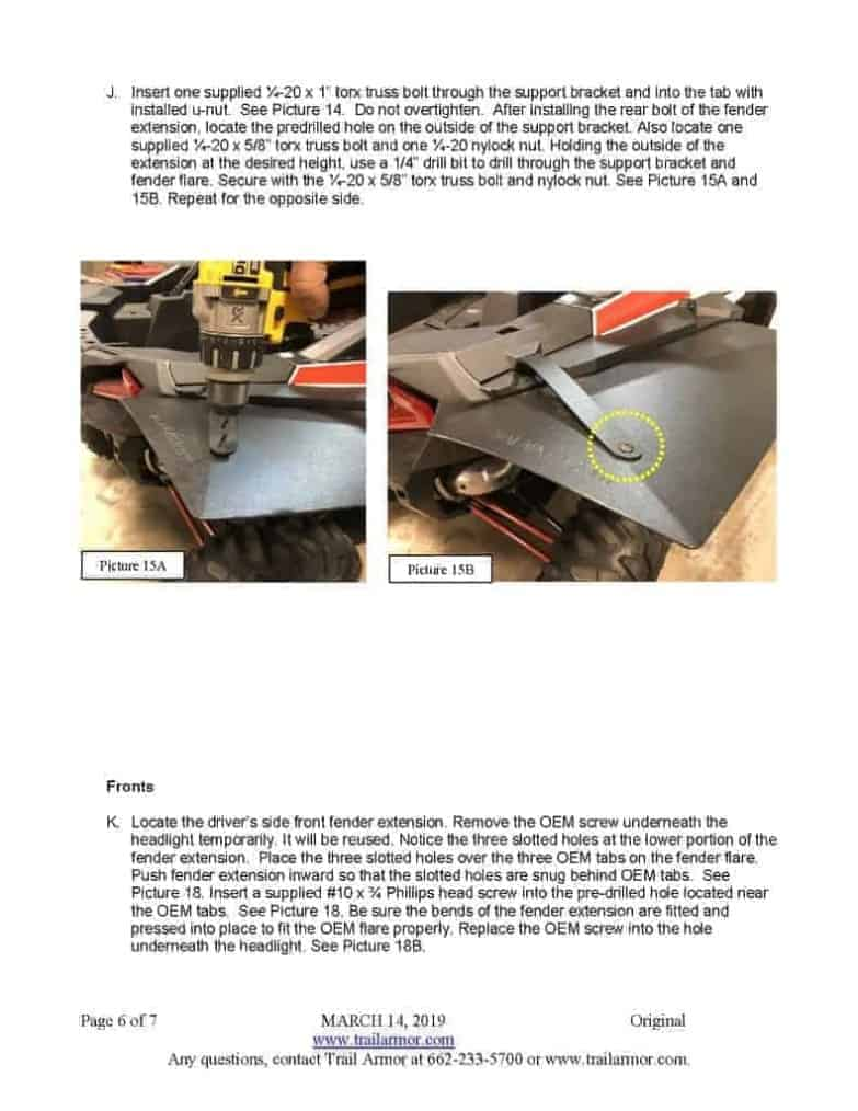 Polaris Rzr Xp Series Mud Flap Fender Extensions, Super Wide Edition