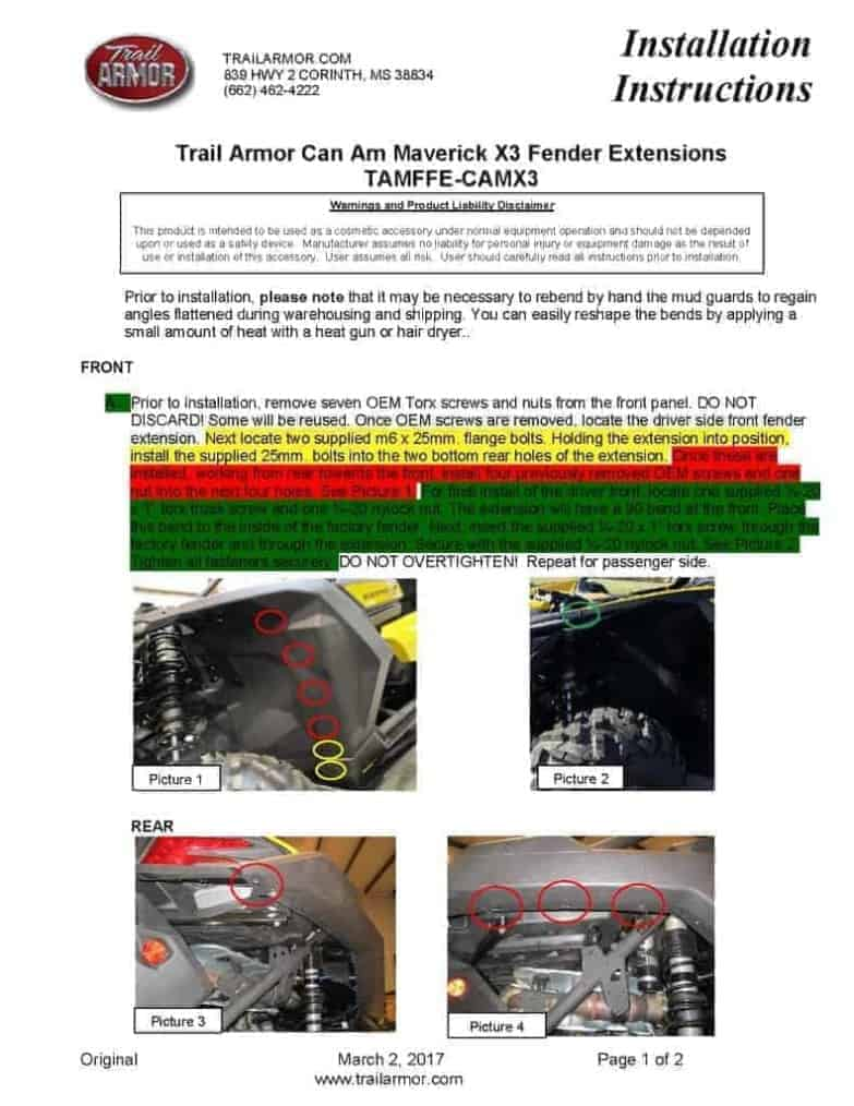 Can-am Maverick X3 Mud Flap, 64″ Model Fender Extensions