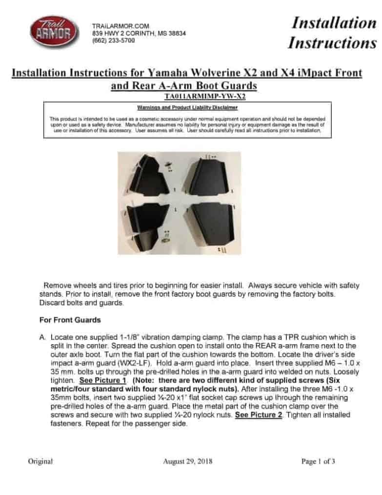 Yamaha Wolverine X2, X4 A-arm Guards
