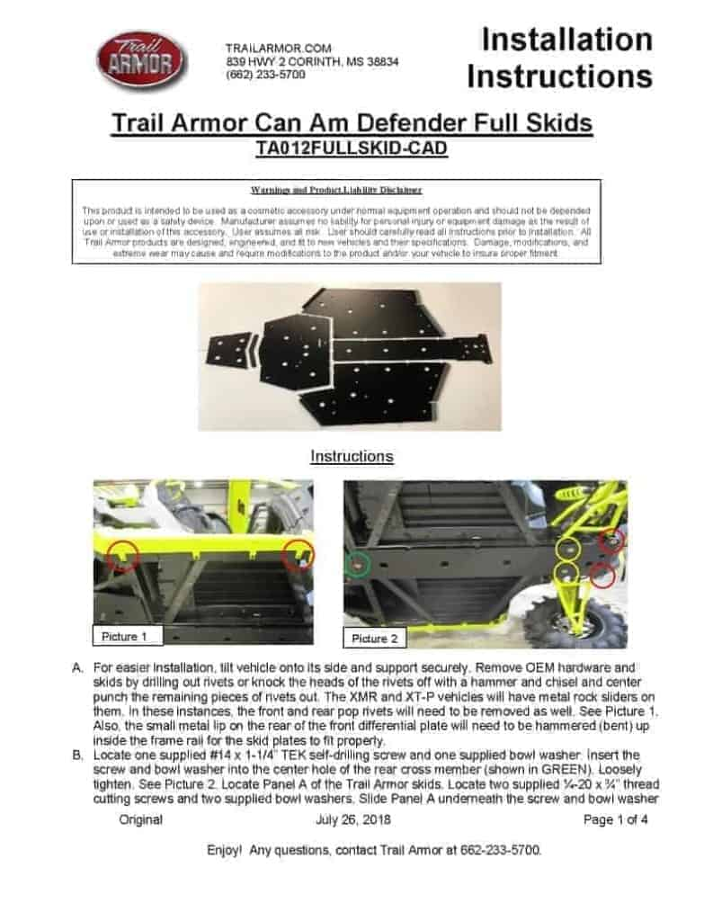 Can-am Defender Full Skid Plate