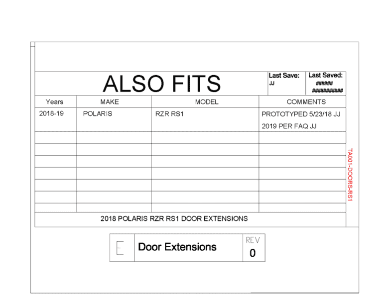 Polaris Rs1 Upper Door Insert Kit
