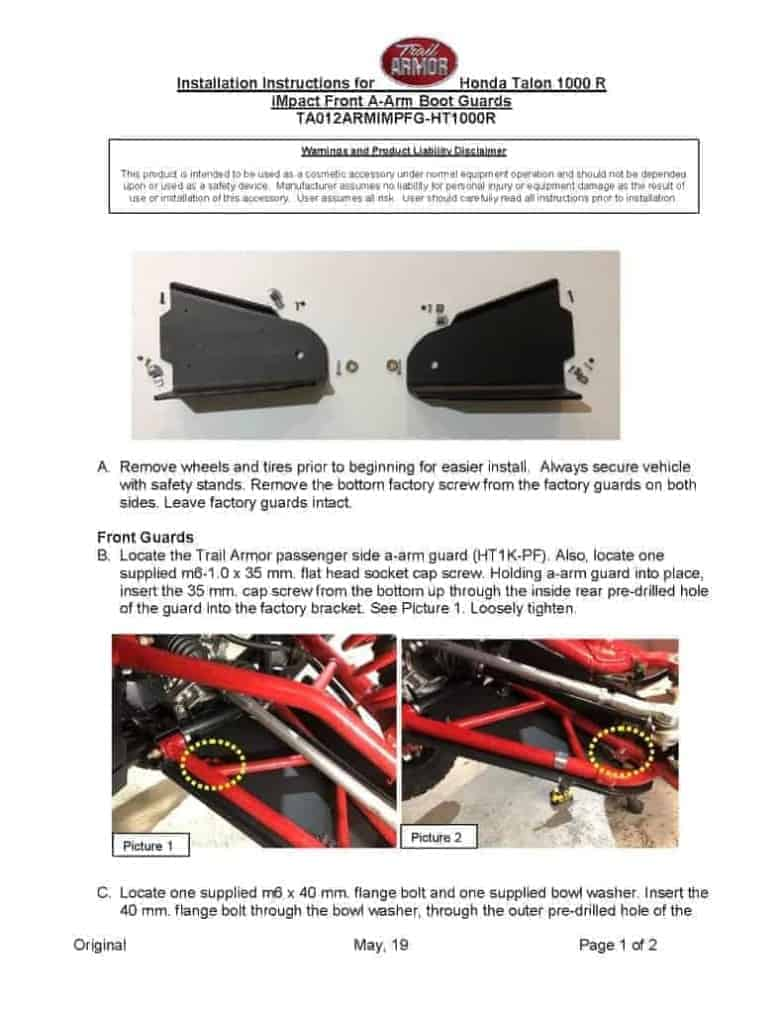 Honda Talon 1000r Impact Front A-arm Guards