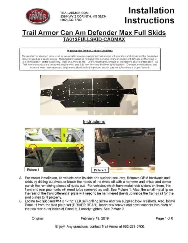 Can-am Defender Max Full Skid Plate