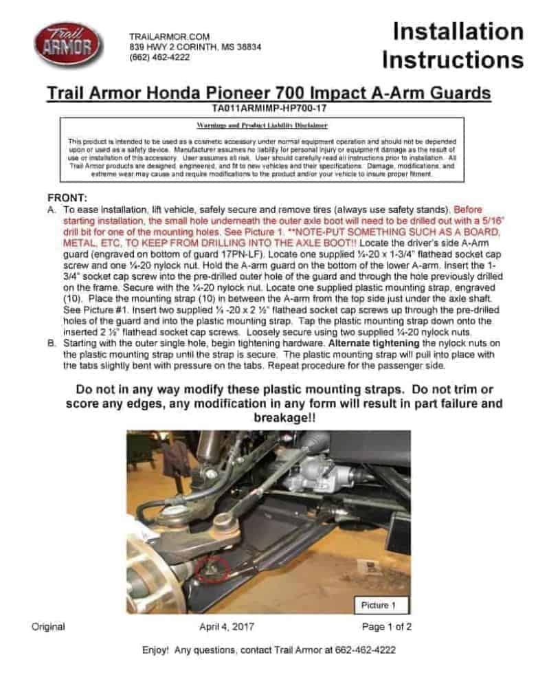 Honda Pioneer 700 Impact A-arm Guards