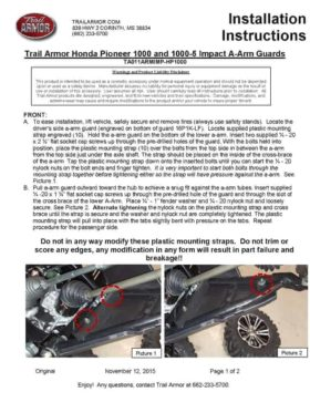 Honda Pioneer 1000 Impact A-arm Guards