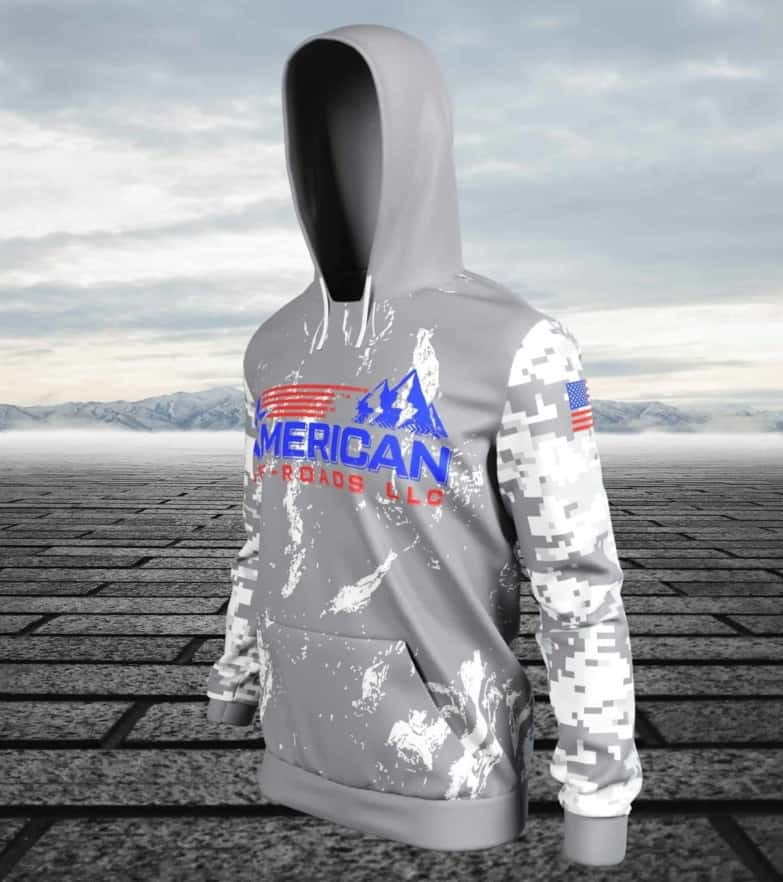 American Off-roads Hoodie, Pull Over Fitted Performance