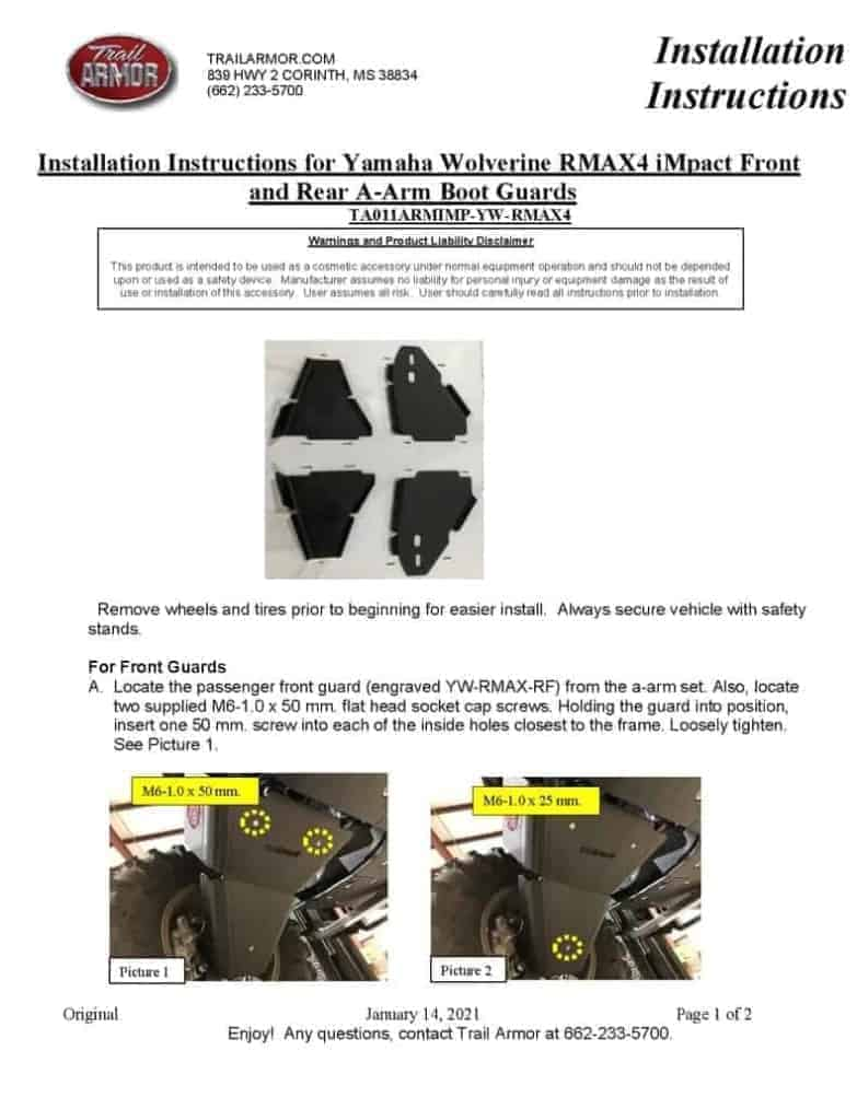 Yamaha Wolverine Rmax4 A-arm Guards