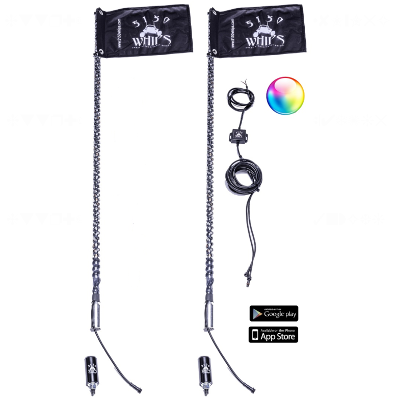 Off-road Led Whip Light Pairs, App Controlled