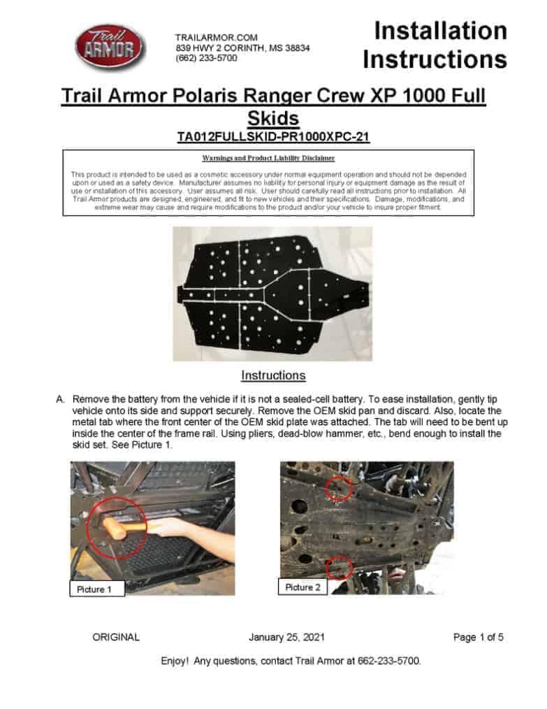 Polaris Ranger Xp 1000 Crew Skid Plates. 21 Newer